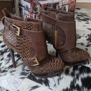 Michael Kors Snakeskin Brown Leather